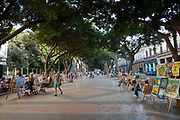 Outdoor art market traders on the Prado, Central street of Havana.
