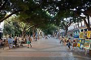 Outdoor art market traders on the Prado, Central street of Havana.