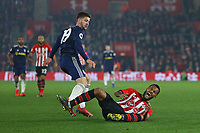 Football - 2018 / 2019 Premier League - Southampton vs. Fulham<br /> <br /> Southampton's Ryan Bertrand in pain after a challenge from Luciano Vietto of Fulham during the Premier League match at St Mary's Stadium Southampton <br /> <br /> COLORSPORT/SHAUN BOGGUST