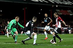 Lasse Vibe of Brentford scores his sides second goal - Mandatory by-line: Robbie Stephenson/JMP - 05/04/2016 - FOOTBALL - Griffin Park - Brentford, England - Brentford v Bolton Wanderers - Sky Bet Championship