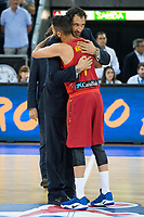 Spain's Jorge Garbajosa and Juan Carlos Navarro during receive the congratulations for the player with more games with the national team friendly match for the preparation for Eurobasket 2017 between Spain and Venezuela at Madrid Arena in Madrid, Spain August 15, 2017. (ALTERPHOTOS/Borja B.Hojas)