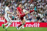 Robert Lewandowski of FC Bayern Munchen during the match of Champions League between Real Madrid and FC Bayern Munchen at Santiago Bernabeu Stadium  in Madrid, Spain. April 18, 2017. (ALTERPHOTOS)
