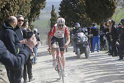 March 9, 2019 - Siena, Italy - Belgian Tiesj Benoot of Lotto Soudal pictured during the Strade Bianche one day cycling race in Siena, Italy, Saturday 09 March 2019...BELGA PHOTO YUZURU SUNADA (Credit Image: © Yuzuru Sunada/Belga via ZUMA Press)