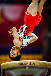 October 29, 2018 - Doha, Qatar - Kenzo Shirai of Japan   during  Vault, Team final for Men at the Aspire Dome in Doha, Qatar, Artistic FIG Gymnastics World Championships on October 29, 2018. (Credit Image: © Ulrik Pedersen/NurPhoto via ZUMA Press)