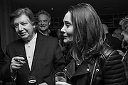 MIKE VON JOEL;  RICHARD COMPTON MILLER; MARY WEAVER, Richard Compton Miller birthday, The Apartment @ The Hoxton, Great Eastern Street,  London. 21 March 2015.