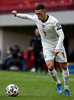 TIRANA, ALBANIA - MARCH 28: Phil Foden of England during the FIFA World Cup 2022 Qatar qualifying match between Albania and England at the Qemal Stafa Stadium on March 28, 2021 in Tirana, Albania. Sporting stadiums around Europe remain under strict restrictions due to the Coronavirus Pandemic as Government social distancing laws prohibit fans inside venues resulting in games being played behind closed doors (Photo by MB Media)