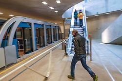 THEMENBILD - Die Hungerburgbahn ist eine am 1. Dezember 2007 eröffnete Standseilbahn in der Tiroler Landeshauptstadt Innsbruck, die Stationen wurden nach den Plänen der Architektin Zaha Hadid erbaut. Innsbruck am Mittwoch 26. Februar 2020 // The Hungerburgbahn is a funicular railway opened in the Tyrolean capital of Innsbruck on December 1, 2007. The stations were built according to the plans of the architect Zaha Hadid. Innsbruck on February 26, 2020. EXPA Pictures © 2020, PhotoCredit: EXPA/ Johann Groder