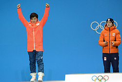 February 15, 2018 - Pyeongchang, South Korea - NAO KODAIRA of Japan celebrates getting the silver medal in the Ladies' 1000m speed skating event in the PyeongChang Olympic games. (Credit Image: © Christopher Levy via ZUMA Wire)