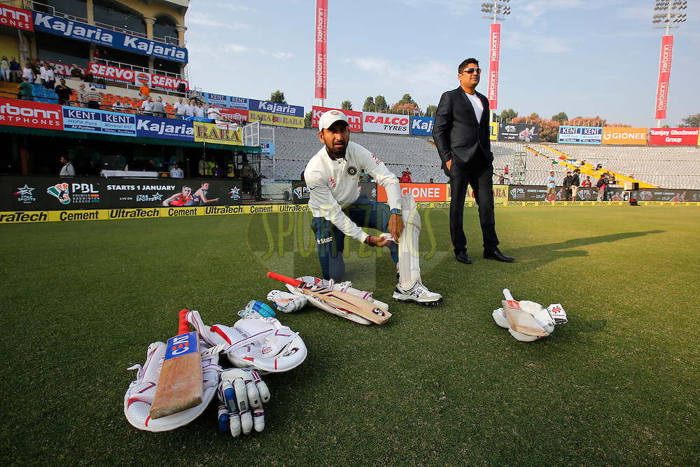 Cheteshwar Pujara of India during day 1 of the third test match between India and England held at the Punjab Cricket Association IS Bindra Stadium, Mohali on the 26th November 2016.<br /> <br /> Photo by: Deepak Malik/ BCCI/ SPORTZPICS