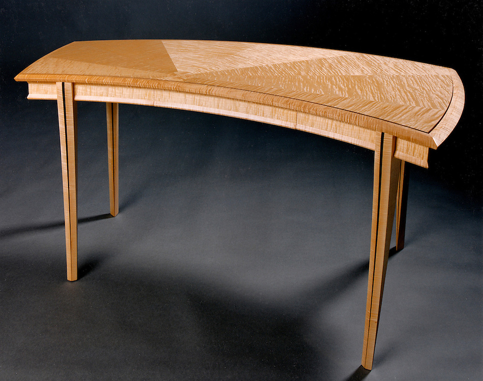 Wing desk<br /> curly maple and moradillo<br /> Resides in Oregon