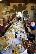 A group of visitors enjoying the lunch with all dishes prepared with truffles Truffiere de la Bergerie (Truffière) truffles farm Ste Foy de Longas Dordogne France