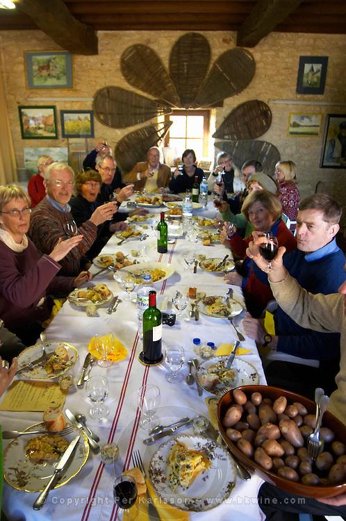 A group of visitors enjoying the lunch with all dishes prepared with truffles Truffiere de la Bergerie (Truffière) truffles farm Ste Foy de Longas Dordogne France