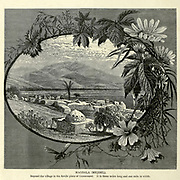 Engraving on Wood of Magdala (Mejdel) from Picturesque Palestine, Sinai and Egypt by Wilson, Charles William, Sir, 1836-1905; Lane-Poole, Stanley, 1854-1931 Volume 2. Published in New York by D. Appleton in 1881-1884