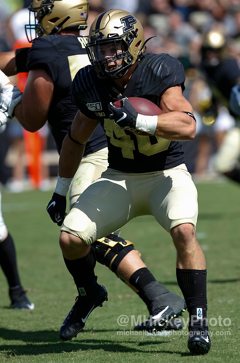 WEST LAFAYETTE, IN - SEPTEMBER 07:  Zander Horvath #40 of the Purdue Boilermakers runs the ball during the game against the Vanderbilt Commodores at Ross-Ade Stadium on September 7, 2019 in West Lafayette, Indiana. (Photo by Michael Hickey/Getty Images) *** Local Caption *** Zander Horvath