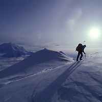 USA, Alaska, Denali National Park, (MR) Rudiger Stuiss on slopes above Windy Corner while climbing Mount McKinley