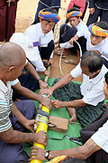 Preparing the bamboo rocket for the contest at the PaO National Day on 24th March 2016 in Kayah State, Myanmar