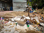 09 SEPTEMBER 2016 - BANGKOK, THAILAND:  A demolished home in the Pom Mahakan Fort, one of 15 homes torn down by Bangkok officials over the weekend. Forty-four families still live in the Pom Mahakan Fort community. The city of Bangkok has given them provisional permission to stay, but city officials say the permission could be rescinded and the city go ahead with the evictions. The residents of the historic fort have barricaded most of the gates into the fort and are joined every day by community activists from around Bangkok who support their efforts to stay.           PHOTO BY JACK KURTZ