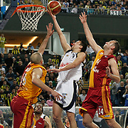 Fenerbahce Ulker's Roko Leni UKIC (C) during their Turkish Basketball league derby match  Fenerbahce Ulker between Galatasaray Cafe Crown at Sinan Erdem Arena in Istanbul, Turkey, Wednesday, April 20, 2011. Photo by TURKPIX