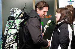 Coach of  Slovenian 2-times silver medalist alpine skier T. Maze Andrea Massi with her mother Sonja Maze at arrival to Airport Joze Pucnik from Vancouver after Winter Olympic games 2010, on February 28, 2010 in Brnik, Slovenia. (Photo by Vid Ponikvar / Sportida)