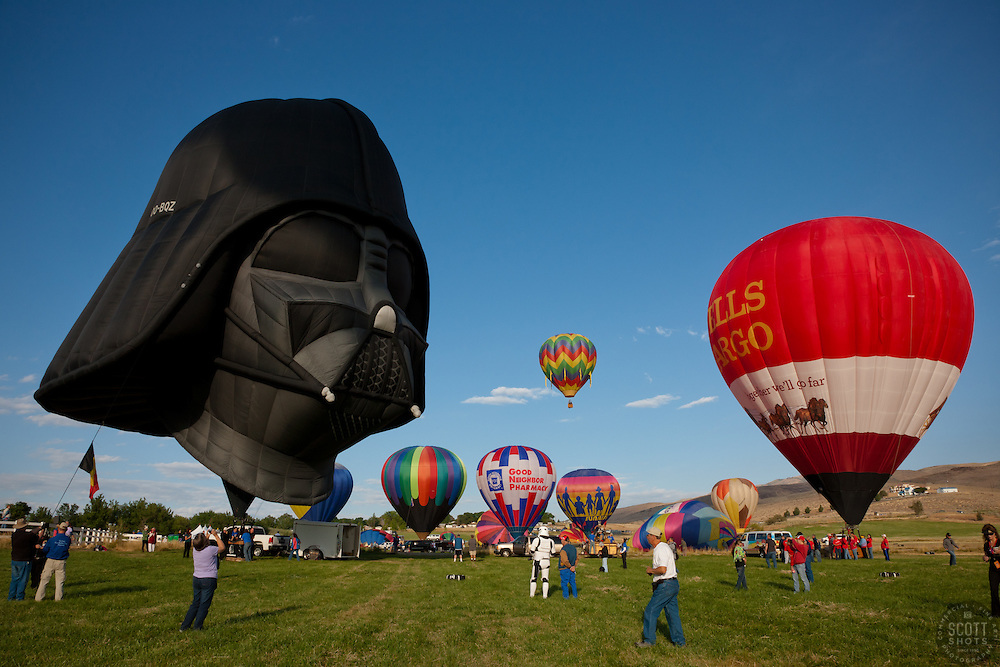 """""""2011 Great Reno Balloon Race 1"""" - These hot air balloons and Darth Vader balloon were photographed during the 2011 Great Reno Balloon Race."""
