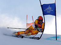 Photo: Catrine Gapper.<br />Winter Olympics, Turin 2006. Alpine Skiing Mens Giant Slalom. 20/02/2006. Thomas Grand of USA finishes in tenth place in the Men s Giant Slalom.