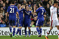 Oscar of Chelsea © celebrates  scoring his sides 3rd goal for his hat-trick to make it 1-3 with Eden Hazard of Chelsea and Branislav Ivanovic of Chelsea. The Emirates FA cup, 4th round match, MK Dons v Chelsea at the Stadium MK in Milton Keynes on Sunday 31st January 2016.<br /> pic by John Patrick Fletcher, Andrew Orchard sports photography.