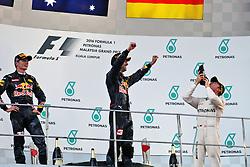 The podium (L to R): Max Verstappen (NLD) Red Bull Racing, second; Daniel Ricciardo (AUS) Red Bull Racing, race winner; Nico Rosberg (GER) Mercedes AMG F1, third.<br /> 02.10.2016. Formula 1 World Championship, Rd 16, Malaysian Grand Prix, Sepang, Malaysia, Sunday.<br /> Copyright: Photo4 / XPB Images / action press