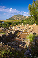 The 1st cent B.C Terrace Temple dedicated to Zeus Soteros  and round sanctuary dating back to the 5th cent B.C and dedicated to the god King Basileus Kaunios, the son of Apollo's son Miletos and the water nymph Kyanee, . In the background is the silted up harbour.  Archaeological site of  Kaunos (Caunos), Dalyan Turkey .<br /> <br /> If you prefer to buy from our ALAMY PHOTO LIBRARY  Collection visit : https://www.alamy.com/portfolio/paul-williams-funkystock/dalyan-lycian-tombs-and-kaunos.html<br /> <br /> Visit our TURKEY PHOTO COLLECTIONS for more photos to download or buy as wall art prints https://funkystock.photoshelter.com/gallery-collection/3f-Pictures-of-Turkey-Turkey-Photos-Images-Fotos/C0000U.hJWkZxAbg