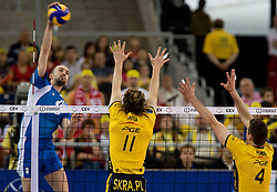 Semen Poltavskiy of Dinamo vs Stephane Antiga and Daniel Plinski of Blechatow at 1st Semifinal match of CEV Indesit Champions League FINAL FOUR tournament between PGE Skra Belchatow, Poland and Dinamo Moscow, Russia, on May 1, 2010, at Arena Atlas, Lodz, Poland. (Photo by Vid Ponikvar / Sportida)
