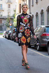 Fashion: street style at Milan Fashion Week 2017 outside of the Dolce & Gabbana show in Milan on September 24, 2017. 24 Sep 2017 Pictured: Street style at Milan Fashion Week 2017 outside of the Dolce & Gabbana show in Milan on September 24, 2017. Photo credit: Stefano Costantino / MEGA TheMegaAgency.com +1 888 505 6342