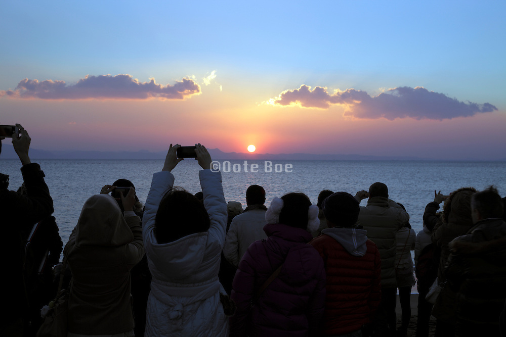 ritual of going to see the first sunrise of the year Japan Miurakaigan