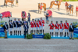 Team USA, Gold Medal, Devin Ryan, Adrienne Sternlicht, Laura Kraut, McLain Ward, Robert Ridland, Team Sweden, Silver medal, Malin Baryard-Johnsson, Henrik von Eckermann, Peder Fredricson, Fredrik Jönsson, Henrik Ankarcrona, Team Germany, Bronze medal, Maurice Tebbel, Laura Klaphake, Simone Blum, Marcus Ehning, Otto Becker<br /> World Equestrian Games - Tryon 2018<br /> © Hippo Foto - Dirk Caremans<br /> 21/09/2018