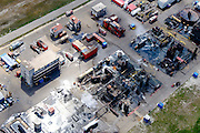 Nederland, Zuid-Holland, Rotterdam, 06-10-2015. 'brandweer dorp', opleidingscentrum en oefencentrum van Falck Risc (Falck Fire Academy) voor het trainen en oefenen van bedrijfsbrandweer en brandweercorpsen.<br /> 'Firefighter village ' training center of Risc Falck (Falck Fire Academy) for the training and practice of (industrial) fire-fighters and fire departments.<br /> <br /> luchtfoto (toeslag op standard tarieven);<br /> aerial photo (additional fee required);<br /> copyright foto/photo Siebe Swart