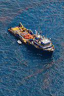 6-10-2010. Oil recovery vessel near the source of  BP oil spill in the Gulf Of Mexico .