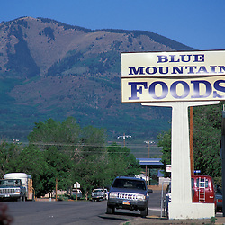 Monticello, UT.Blue Mountain Foods.  Abajo Peak (Blue Mountains) are in the distance.
