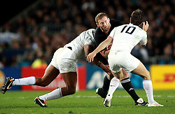 © Andrew Fosker / Seconds Left Images 2011 - New Zealand's Kieran Read is caught by France's Morgan Parra (R) & France's Thierry Dusautoir (Captain)  France v New Zealand - Rugby World Cup 2011 - Final - Eden Park - Auckland - New Zealand - 23/10/2011 -  All rights reserved..