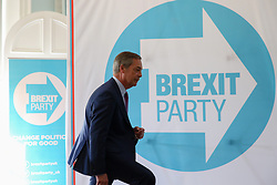 © Licensed to London News Pictures. 07/05/2019. London, UK. Nigel Farage, Leader of Brexit Party arrives at the press conference for the European election campaign in Westminster. Photo credit: Dinendra Haria/LNP