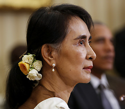 September 14, 2016 - Washington, District of Columbia, United States of America - State Counsellor Aung San Suu Kyi of Myanmar (Burma) during a bilateral meeting with United States President Barack Obama in the Oval Office of the White House on September 14, 2016 in Washington, DC. .Credit: Aude Guerrucci / Pool via CNP (Credit Image: © Aude Guerrucci/CNP via ZUMA Wire)