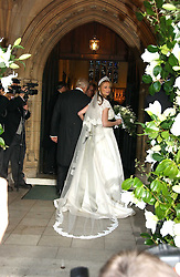 The bride CLEMENTINE HAMBRO with her father RICHARD HAMBRO  at the wedding of Clementine Hambro to Orlando Fraser at St.Margarets Westminster Abbey, London on 3rd November 2006.<br /><br />NON EXCLUSIVE - WORLD RIGHTS