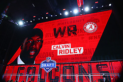 April 26, 2018 - Arlington, TX, U.S. - ARLINGTON, TX - APRIL 26:  Calvin Ridley on the video board after being chosen by the Atlanta Falcons with the 26th pick during the first round at the 2018 NFL Draft at AT&T Statium on April 26, 2018 at AT&T Stadium in Arlington Texas.  (Photo by Rich Graessle/Icon Sportswire) (Credit Image: © Rich Graessle/Icon SMI via ZUMA Press)