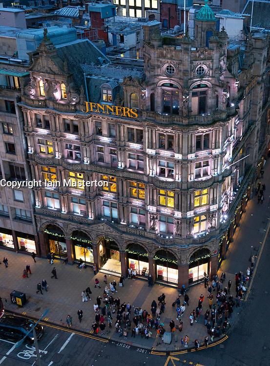 Night view of Jenners department store on Princes Street in Edinburgh, Scotland, Uk