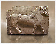 Picture of Phrygian releif sculpture Orthostat of a horse from Kucukevier, Ankara, Turkey. Museum of Anatolian Civilisations, Ankara. 7th century BC. Note the stylised leg muscels. 1 .<br /> <br /> If you prefer you can also buy from our ALAMY PHOTO LIBRARY  Collection visit : https://www.alamy.com/portfolio/paul-williams-funkystock/phrygian-antiquities.html  - Type into the LOWER SEARCH WITHIN GALLERY box to refine search by adding background colour, place, museum etc<br /> <br /> Visit our CLASSICAL WORLD PHOTO COLLECTIONS for more photos to download or buy as wall art prints https://funkystock.photoshelter.com/gallery-collection/Classical-Era-Historic-Sites-Archaeological-Sites-Pictures-Images/C0000g4bSGiDL9rw