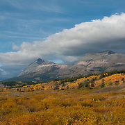 fall colors in glacier national park, montana usa, crown of the continent