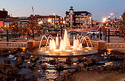 Fountain at Bricktown in front of Harkins Theater at Christmas
