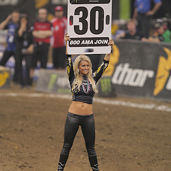 14 March 2009: Miss Supercross 2009, Casey Edmondson holds up a sign prior to the start of the Main Event during the Monster Energy AMA Supercross race at the Louisiana Superdome in New Orleans, Louisiana