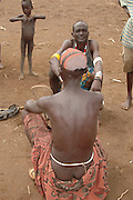 Africa, Ethiopia, Omo Valley, Daasanach tribe village elders