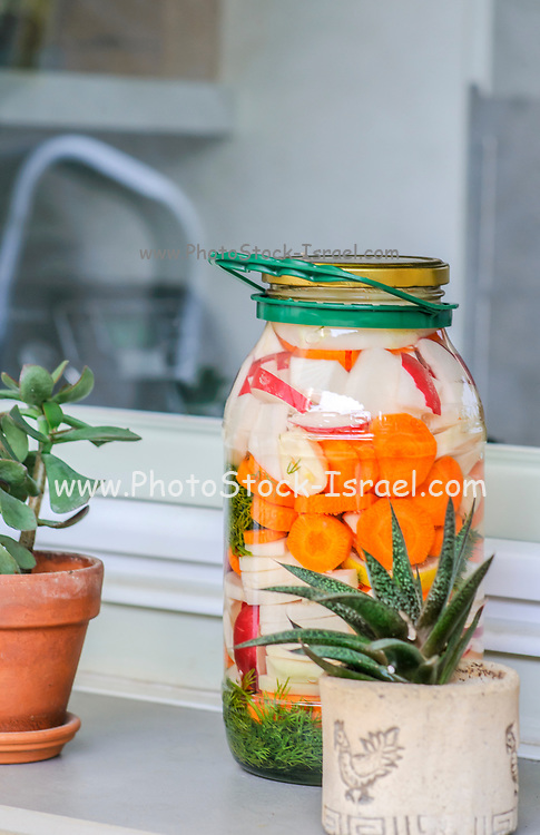 Jar with variety of homemade pickled vegetables exposed to light on the kitchen windowsill