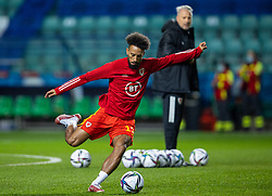 TALLINN, ESTONIA - Monday, October 11, 2021: Wales' Sorba Thomas during the pre-match warm-up before the FIFA World Cup Qatar 2022 Qualifying Group E match between Estonia and Wales at the A. Le Coq Arena. Wales won 1-0. (Pic by David Rawcliffe/Propaganda)