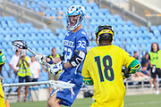 The World Lacrosse Championship in 2018 was held on July 12-21 2018 at the Orde Wingate Institute for Physical Education and Sports in Netanya, Israel. The match between Israel (Blue and white) and Jamaica (Yellow and Green)