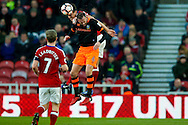 Middlesbrough defender Bernardo Espinosa (5) wins the header above Sheffield Wednesday forward Steven Fletcher (6)  during the The FA Cup match between Middlesbrough and Sheffield Wednesday at the Riverside Stadium, Middlesbrough, England on 8 January 2017. Photo by Simon Davies.